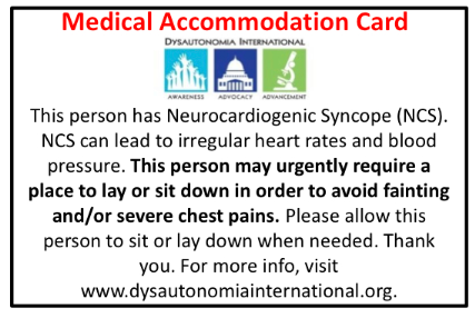 Medical Accommodation Wallet Cards For Dysautonomia Patients